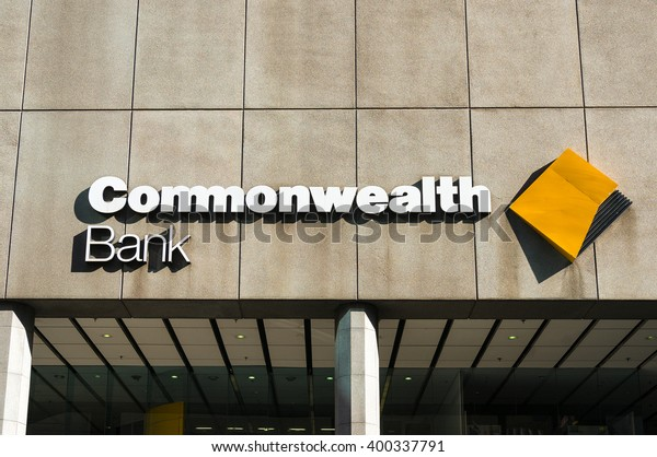 Sydney, Australia - Mar 26, 2016: Commonwealth bank branch on Liverpool street. Commonwealth bank of Australia is the largest Australian listed company on the ASX