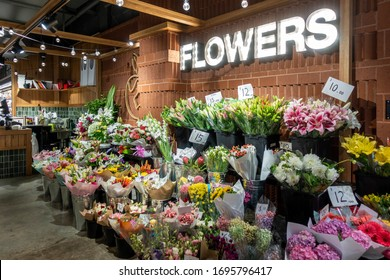 Sydney, Australia - Mar 29, 2020: Florist's assorted flower display at front of the store in Roselands shopping centre. A representation of an Australian small business.