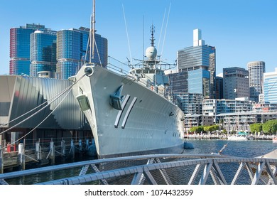 Sydney, Australia - March 11, 2018: destroyer HMAS Vampire, Australian National Maritime Museum in the background of skyscrapers of Sydney central business district ( CBD )