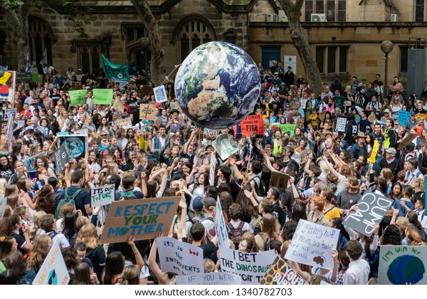 Sydney, Australia - March 15, 2019 - 20 000 Australian students gather in climate change protest rally, School Strike 4 Climate, and demand urgent action on climate change.