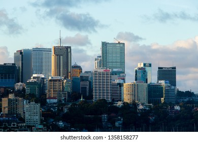 Sydney, Australia - March 21, 2019: North Sydney buildings skyline view in the afternoon.
