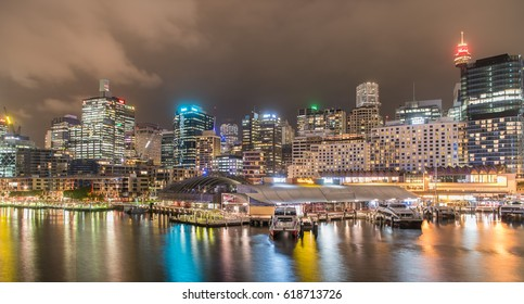 SYDNEY, AUSTRALIA - March 22, 2017 : Colorful Night of Darling Harbour, adjacent to the city center of Sydney and also a recreational place in Sydney central business district.