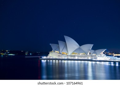 SYDNEY, AUSTRALIA - MARCH 22: Night view of Sydney's most famous icon, the Sydney Opera House on March 22,2012 in Sydney, Australia. The Opera House will celebrate its 40th anniversary in 2013.