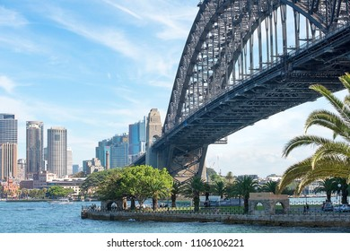 Sydney, Australia - March 24, 2018: Sydney Harbour Bridge and cityscape with Barangaroo office and residential buildings