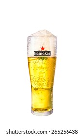 SYDNEY, AUSTRALIA - MARCH 31, 2015: A Glass of beer Heineken Lager. Heineken Lager Beer is a pale lager beer produced by the Dutch brewing company Heineken International