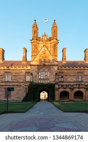 Sydney, Australia - March 5, 2019: University of Sydney Quadrangle building under golden hour light.