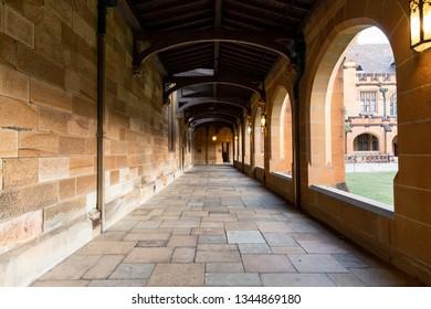 Sydney, Australia - March 5, 2019: Perspective view at University of Sydney Quadrangle corridor.