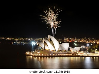 SYDNEY, AUSTRALIA - MARCH 8, 2018 - The Sydney Opera House hosts an incredible fireworks show with beautiful reflections in the water