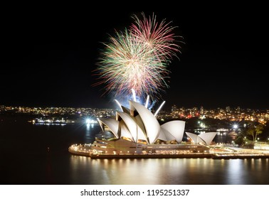 SYDNEY, AUSTRALIA - MARCH 8, 2018 - Brilliant Sydney fireworks show finale over the Opera House at night