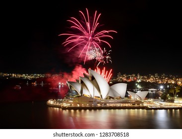 Sydney, Australia - March 8, 2018: An impressive fireworks show hosted by the Sydney Opera House