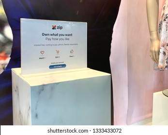 Sydney, Australia - March 9, 2019: An Zip Pay sign is displayed on a shop front in a shopping centre. Zip Pay is a buy now, pay later service provider.