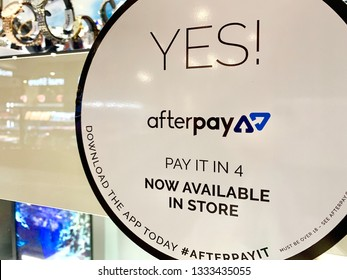 Sydney, Australia - March 9, 2019: An Afterpay sign is displayed on a shop front in a shopping centre. Afterpay is a buy now, pay later service provider.