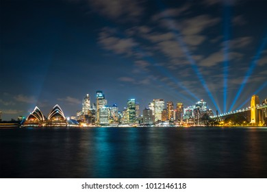 Sydney, Australia - May 11, 2017: Close-up view of Sydney Opera House and CBD at night