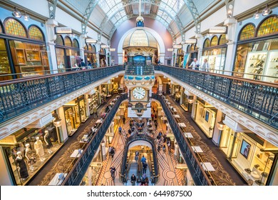 Sydney, Australia - May 16, 2017: Interior of Queen Victoria Building, a late nineteenth-century building designed by the architect George McRae