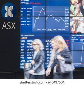 Sydney, Australia - May 16, 2017: People walking past the display board of the Sydney Exchange Square. ASX, Australian Securities Exchange is the company that operates Australia's stock exchange.