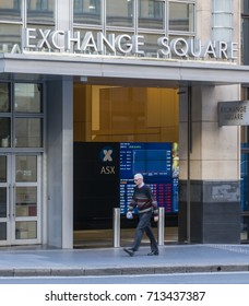 Sydney, Australia - May 16, 2017: Man walking past the Sydney Exchange Square. ASX, Australian Securities Exchange is the company that operates Australia's stock exchange.
