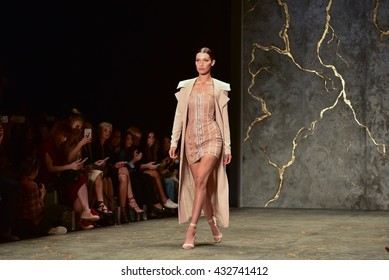 SYDNEY / AUSTRALIA - MAY 16: Model Bella Hadid walks runway during sexy lace female MISHA collection fashion show during Mercedes Benz Fashion Week Australia on 16 May 2016 in Carriageworks in Sydney
