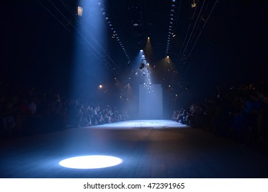 SYDNEY AUSTRALIA - MAY 17: Empty runway stage behind the scene before start of Bianca Spender backstage fashion show at Mercedes Benz Fashion Week in Carriageworks Sydney Australia on 17 May 2016
