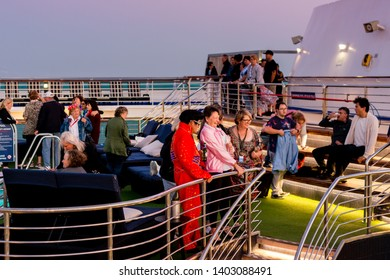 "Sydney, Australia - May 18, 2019: P&O hosts its second themed cruise, ""A Tribute to the King"", featuring many tribute artists. Many fans dressed up as Elvis to add to the fun."