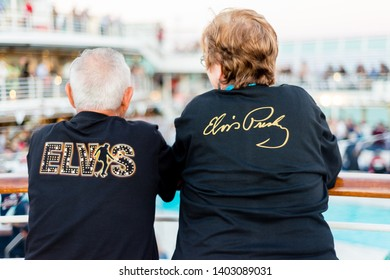 """Sydney, Australia - May 18, 2019: P&O hosts its second themed cruise, """"A Tribute to the King"""", featuring many tribute artists. Many fans dress up for the cruise"""