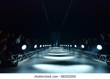 SYDNEY AUSTRALIA - MAY 19: Empty runway stage behind the scene before start of We are Handsome backstage fashion show at Mercedes Benz Fashion Week in Carriageworks Sydney Australia on 19 May 2016