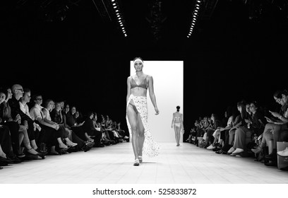 SYDNEY / AUSTRALIA - MAY 19: Model walks runway during Palm Swimwear collection fashion show Mercedes Benz Fashion Week Australia on 19 May 2016 in Carriageworks in Sydney