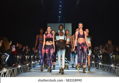 SYDNEY / AUSTRALIA - MAY 19: Model walks runway during We Are Handsome fashion show Mercedes Benz Fashion Week Australia on 18 May 2016 in Carriageworks in Sydney