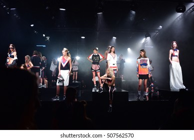 SYDNEY / AUSTRALIA - MAY 19: Models pose during Our Sport collection by P.E Nation fashion show Mercedes Benz Fashion Week Australia on 18 May 2016 in Carriageworks in Sydney