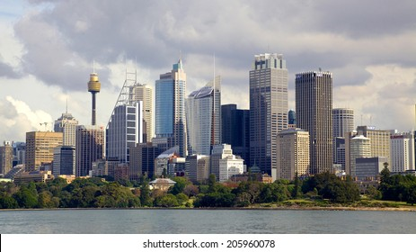 SYDNEY, AUSTRALIA - MAY 20, 2010: The city of Sydney, the state capital of New South Wales and the most populous city in Australia, seen from the waters of Sydney Harbour.