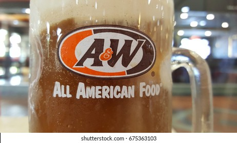 Sydney, Australia - May 2017: A&W Restaurants, Inc., is a chain of fast-food restaurants distinguished by its draft root beer and root beer floats.