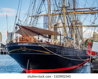 Sydney, Australia - May 22, 2017: Restored Tall Ship James Craig (1874) moored to the pier, Sydney Heritage Fleet. At the Australian National Maritime Museum, Darling Harbor.
