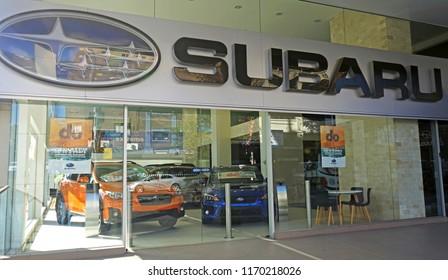 Sydney, Australia – May 23, 2018: Exterior of Subaru dealership in Sydney CBD, the automobile manufacturing division of Japanese transportation conglomerate Subaru Corporation.
