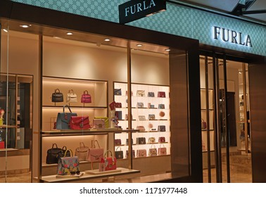Sydney, Australia - May 23, 2018: Exterior of Furla store with bags on display. Furla is an Italian luxury fashion company that was created by the Furlanetto family.