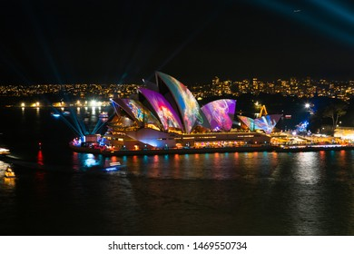 Sydney, Australia - May 24, 2019: Sydney Opera House with abstract light projection. View from Harbour Bridge.