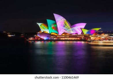 Sydney, Australia -May 25, 2018: Vivid Sydney Festival at Opera House in Sydney Harbour, Australia. The projection displays designs on the sails of Opera House were inspired by the environment.