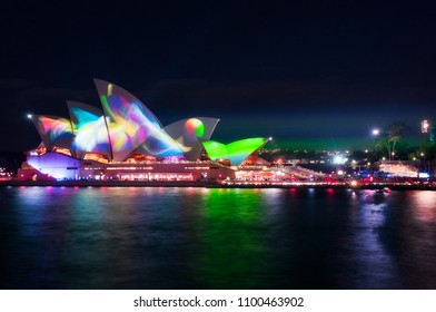 Sydney, Australia -May 25, 2018: Vivid Sydney Festival in Sydney Harbour, Australia. For the 10th year Anniversary the new projection displays designs were called 'Metamathemagical'.