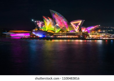 Sydney, Australia -May 25, 2018: Vivid Sydney Festival in Sydney Harbour, Australia. Spectacular and popular outdoor lighting and projections displays were inspired by the wonders of wildlife.
