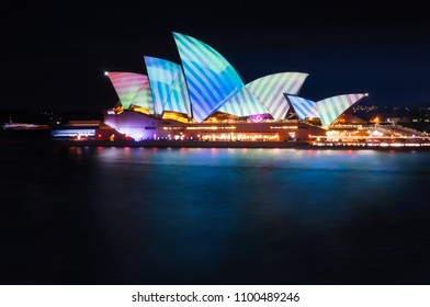 Sydney, Australia -May 25, 2018: Vivid Sydney Festival at Opera House in Sydney Harbour, Australia.  The New Projection designs called Metamathemagical contain geometrical and environment features .