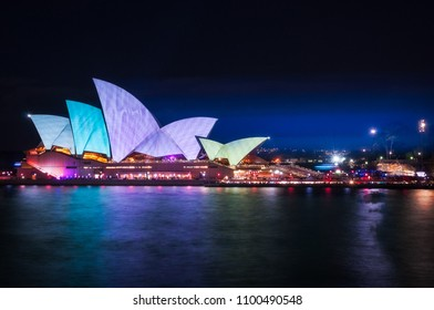 Sydney, Australia -May 25, 2018: Vivid Festival at Opera House in Sydney Harbour, Australia. For the 10th year Anniversary the sails of the Opera light up with new projection designs.