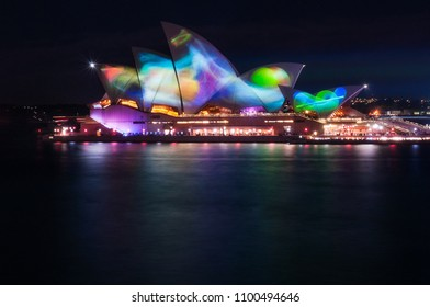 Sydney, Australia -May 25, 2018: Vivid Sydney Festival in Sydney Harbour, Australia. For the 10th year Anniversary the light show on the sails of the Opera presents abstract and wildlife patterns.