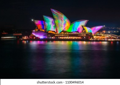 Sydney, Australia -May 25, 2018: Vivid Festival in Sydney Harbour, Australia. Spectacular and popular outdoor lighting and projection are displayed on the sails of Opera House.