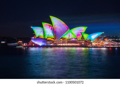 Sydney, Australia -May 25, 2018: Vivid Sydney Festival at Opera House in Sydney Harbour, Australia - Snake Skin Mathematical Pattern Projection Design on the roof of Opera House.