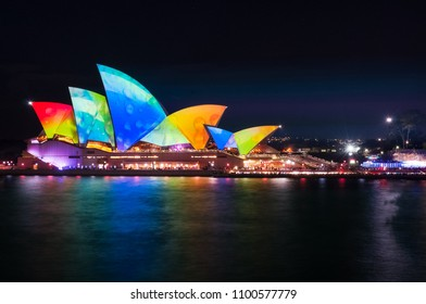 Sydney, Australia -May 25, 2018: Vivid Festival at Sydney Harbour, Australia - Colorful Water Drops on the Roofs of Opera House.