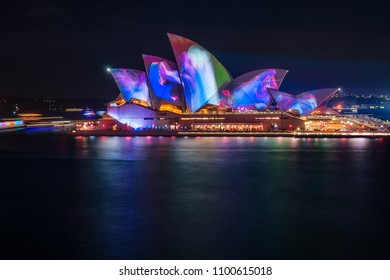 Sydney, Australia -May 25, 2018: Vivid Festival at Opera House in Sydney Harbour, Australia. Spectacular and popular outdoor lighting and projections displays are inspired by the wonders of wildlife.