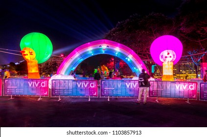 Sydney, Australia - May 25, 2018;  Harmony Valley - Rainbow of Peace & Trees of Friendship are cute inflateables that are meant to elicit  emotions of nurture, playfulness and vulnerability