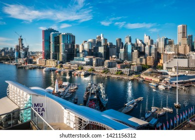 Sydney, Australia – May 25, 2019: Australian Postcard with Sydney City and Barangaroo - View from above from Darling Harbour, a large recreational and pedestrian precinct and waterfront destination.
