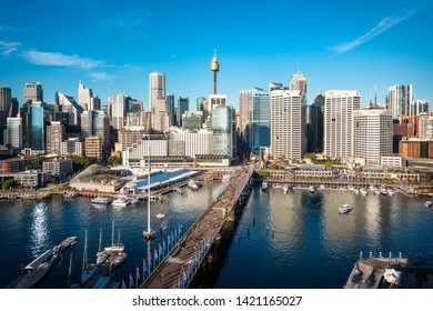 Sydney, Australia – May 25, 2019: Cockle Bay View from above in Sydney Australia -Darling Harbour is a large recreational and pedestrian precinct and a waterfront destination of Sydney, Australia.