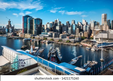 Sydney, Australia – May 25, 2019: Sydney City and Barangaroo View from above from Darling Harbour, a large recreational and pedestrian precinct and a waterfront destination in Sydney, Australia.