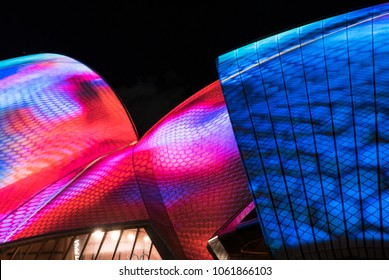 SYDNEY, AUSTRALIA - MAY 26, 2017 - Projections on the Sydney Opera House during Vivid Sydney. Vivid Sydney is an annual outdoor lighting festival featuring light installations and projections.