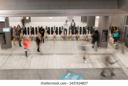 Sydney, Australia - May 27, 2019: People moving in and out Chatswood train station.
